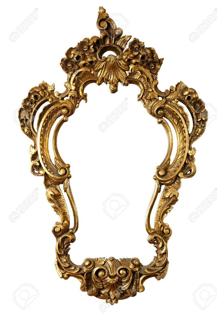 Retro Golden Old Frame A Mirror, Baroque Style, Isolated On inside Baroque Style Mirrors (Image 20 of 25)