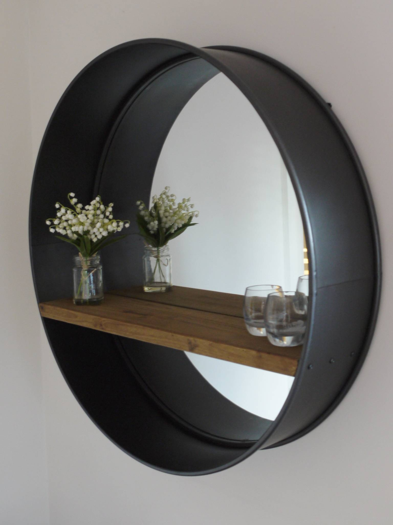 Retro Industrial Vintage Style Large Round Wall Mirror With Shelf within Retro Wall Mirrors (Image 20 of 25)