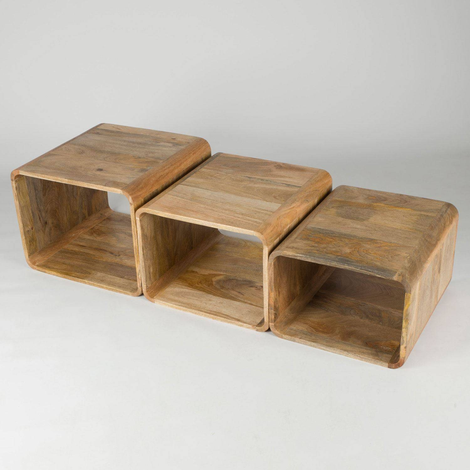 Retro Style Nest Of 3 Cube Shape Hollow Coffee Tables 100% Solid with Mango Wood Coffee Tables (Image 21 of 30)