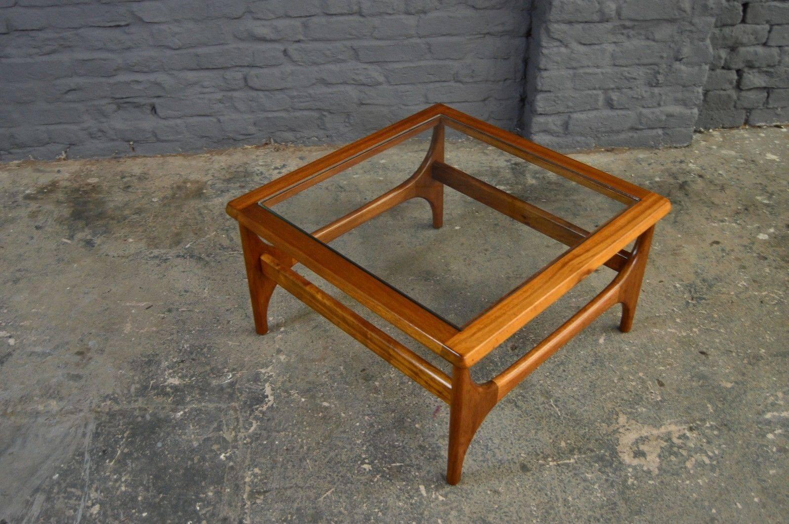 Retro Vintage Mid Century Teak Glass Square Coffee Table Danish Regarding Retro Teak Glass Coffee Tables (View 15 of 30)