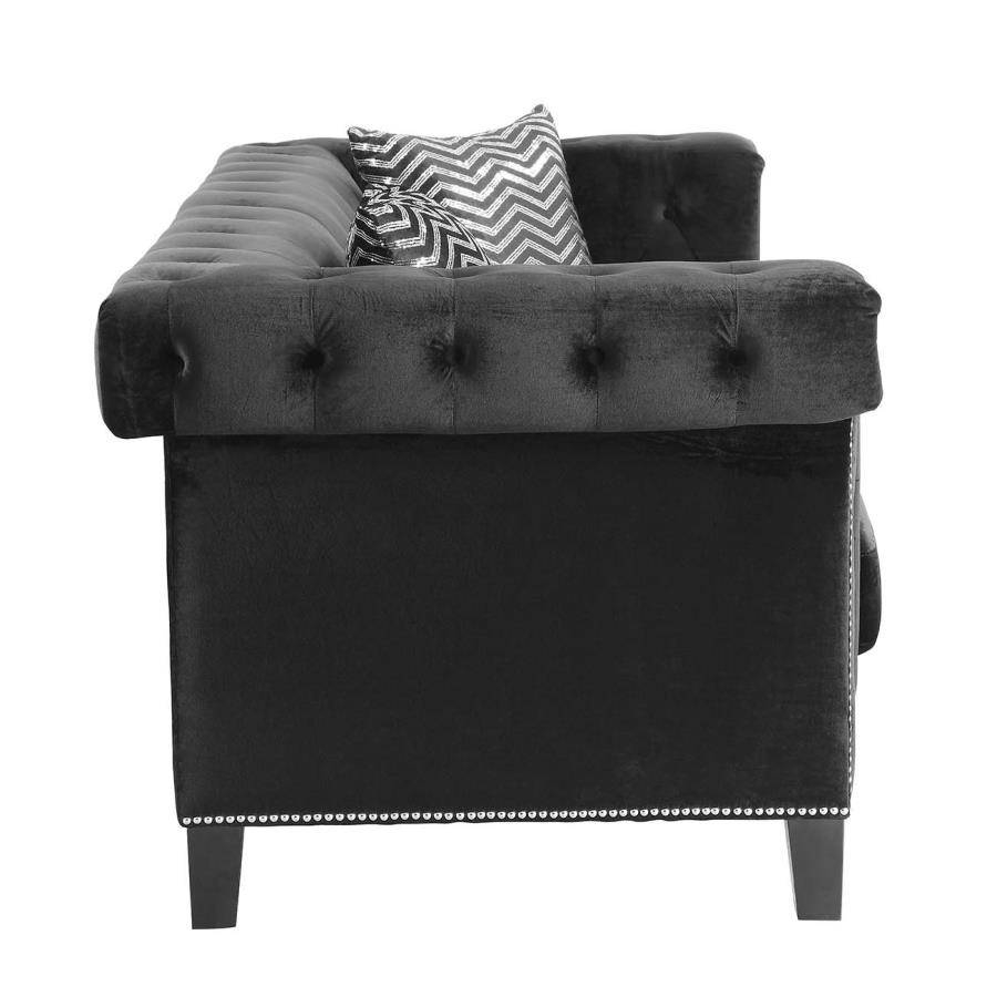 Reventlow Collection 505818 Black Velvet Sofa With Nailhead Trim with regard to Black Velvet Sofas (Image 18 of 30)