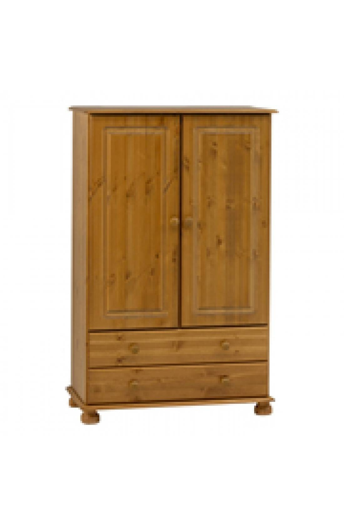 Richmond 2 Door 2 Drawer Short Low Tallboy Wardrobe - Pine intended for Small Tallboy Wardrobes (Image 9 of 15)