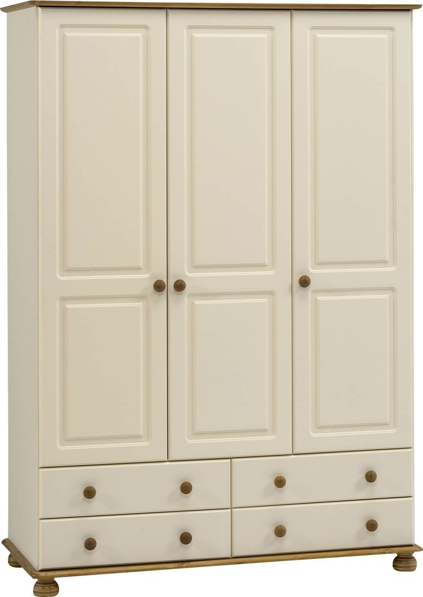 Richmond Cream 3 Door 4 Drawer Wardrobe | Jigsawz inside Cream Triple Wardrobes (Image 13 of 15)