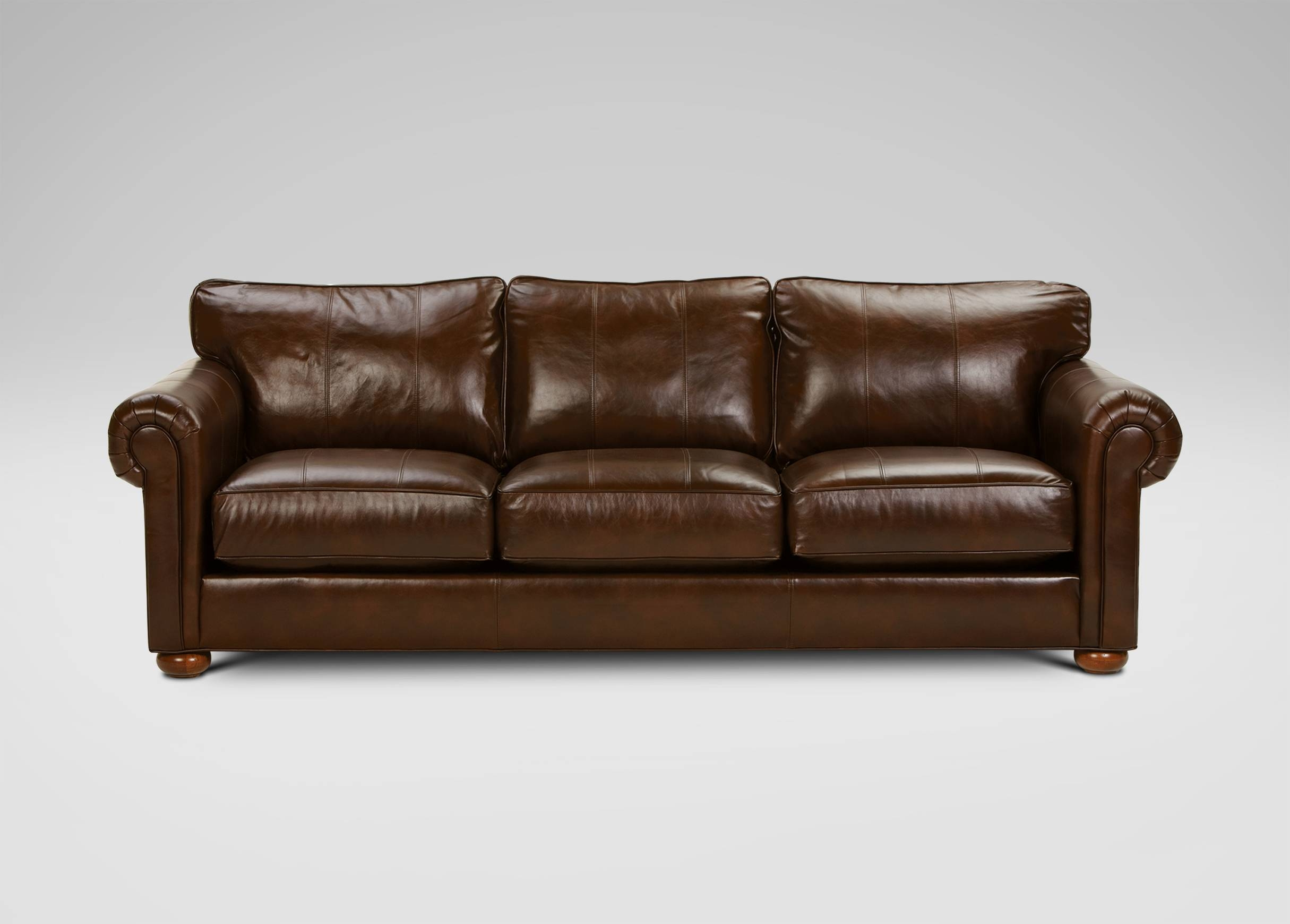Richmond In-Stock Leather Sofa, Old English/chocolate for Richmond Sofas (Image 15 of 30)