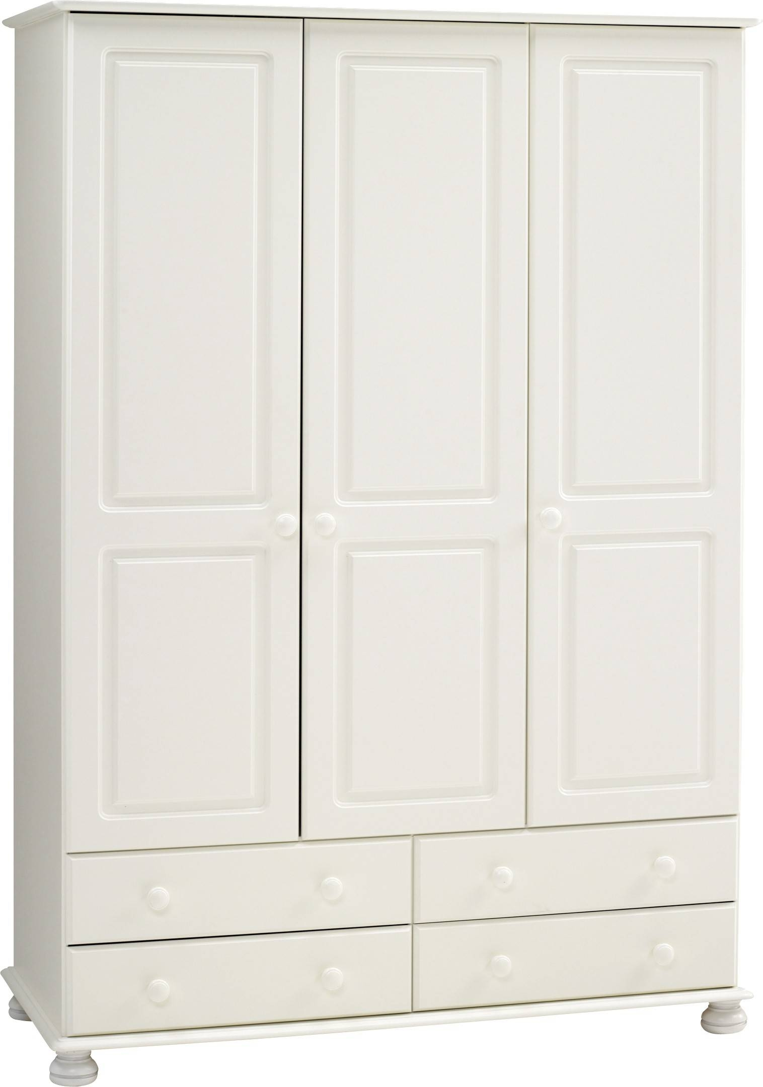 Richmond White Triple Wardrobe | Bedroom Furniture Direct inside Richmond Wardrobes (Image 9 of 15)