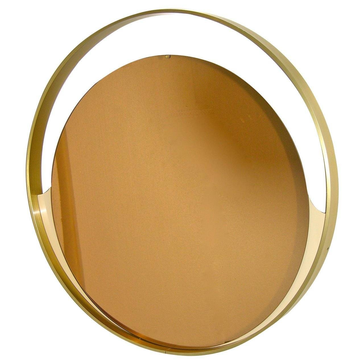Rimadesio 1960S Rare Italian Round Mirror With Bronze Tinted throughout Gold Round Mirrors (Image 19 of 25)