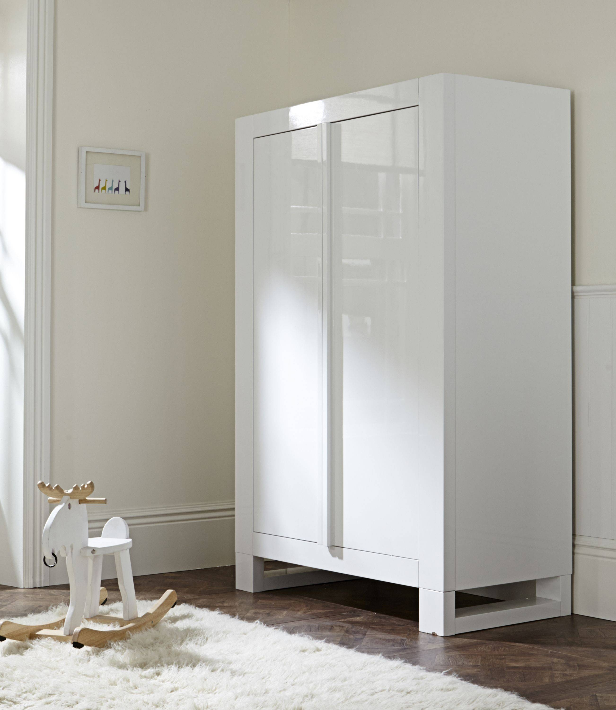 Rimini High Gloss White Wardrobe |Baby Bedroom Wardrobe | Tutti in White High Gloss Wardrobes (Image 10 of 15)