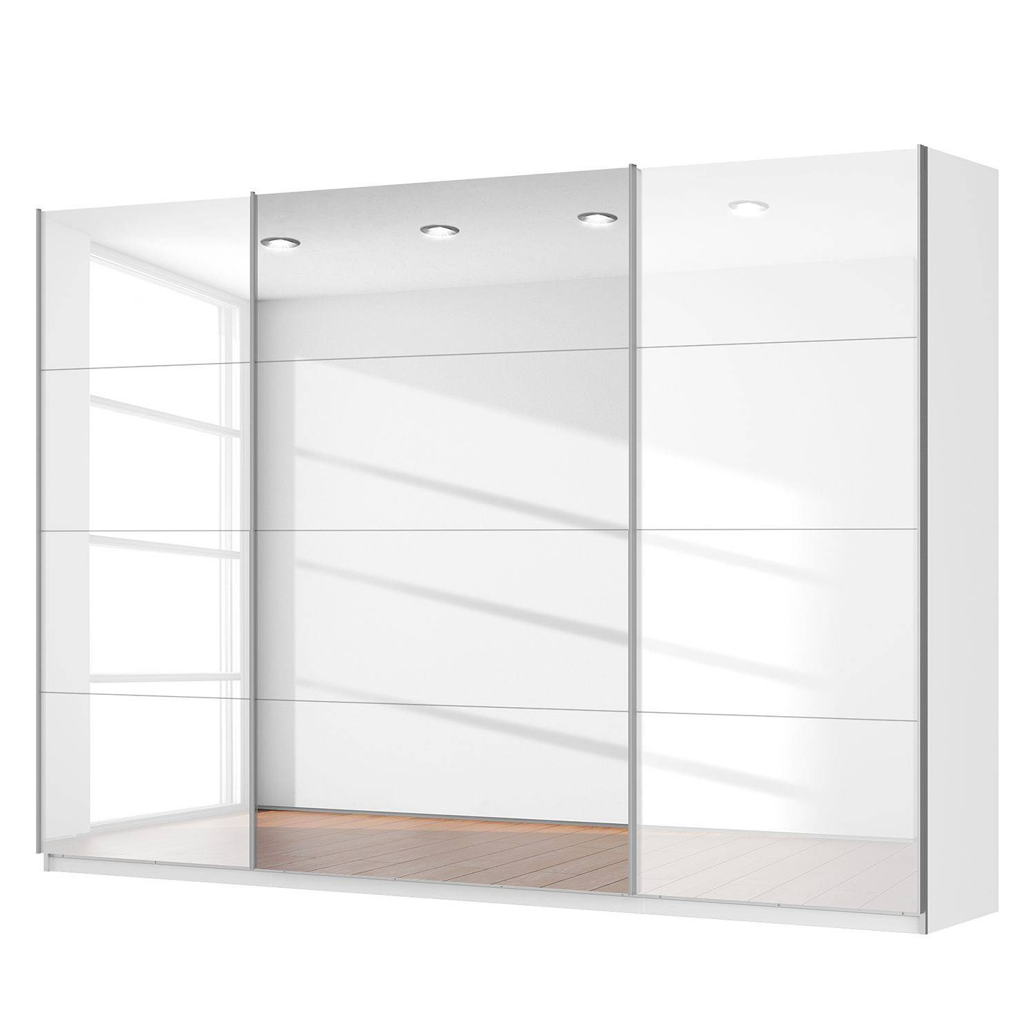Rita Sliding 3 Door Wardrobe High Gloss White With Centre Mirror pertaining to 3 Door White Wardrobes (Image 17 of 30)
