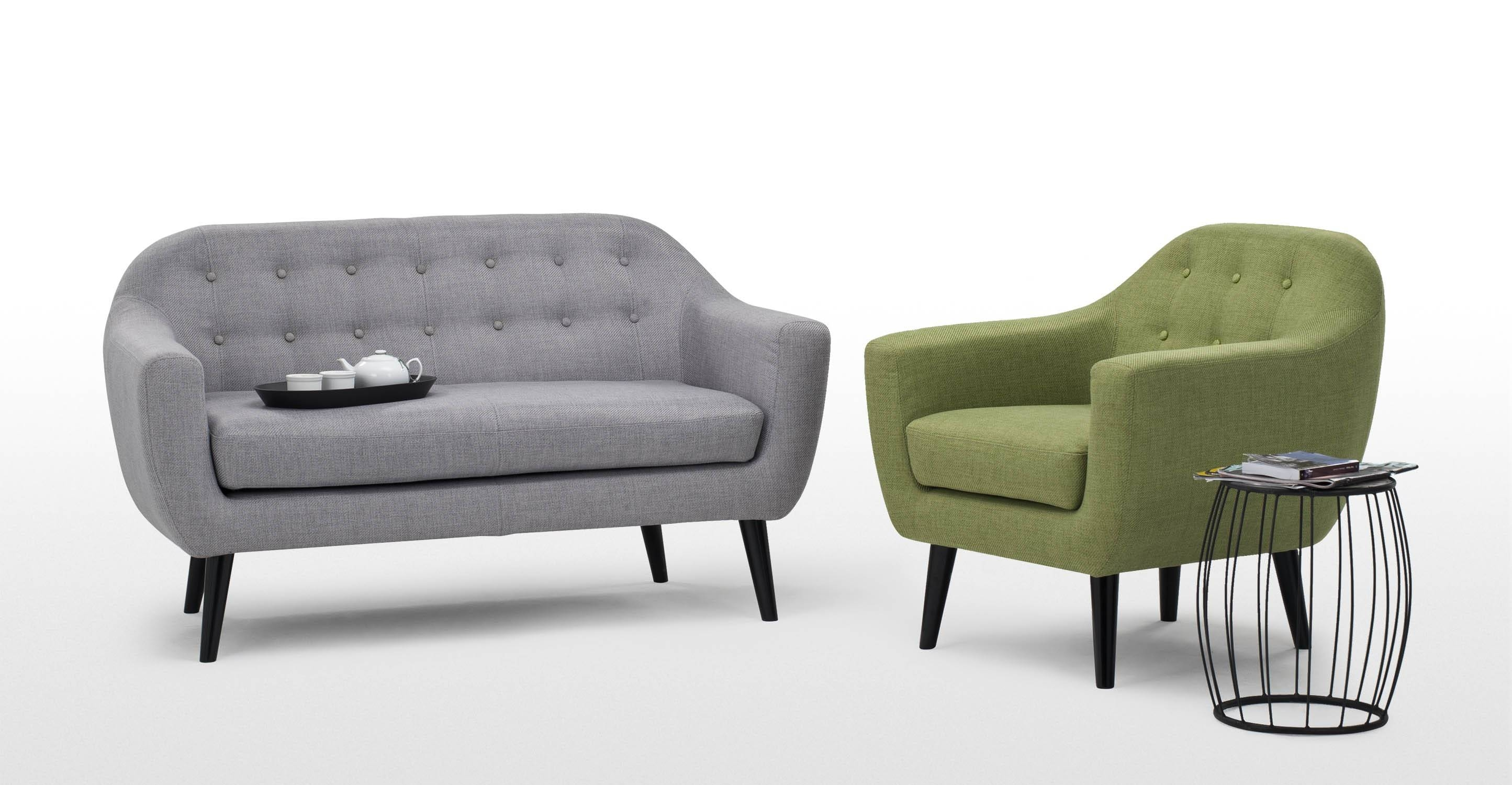 Ritchie 2 Seater Sofa In Pearl Grey | Made for Two Seater Chairs (Image 19 of 30)