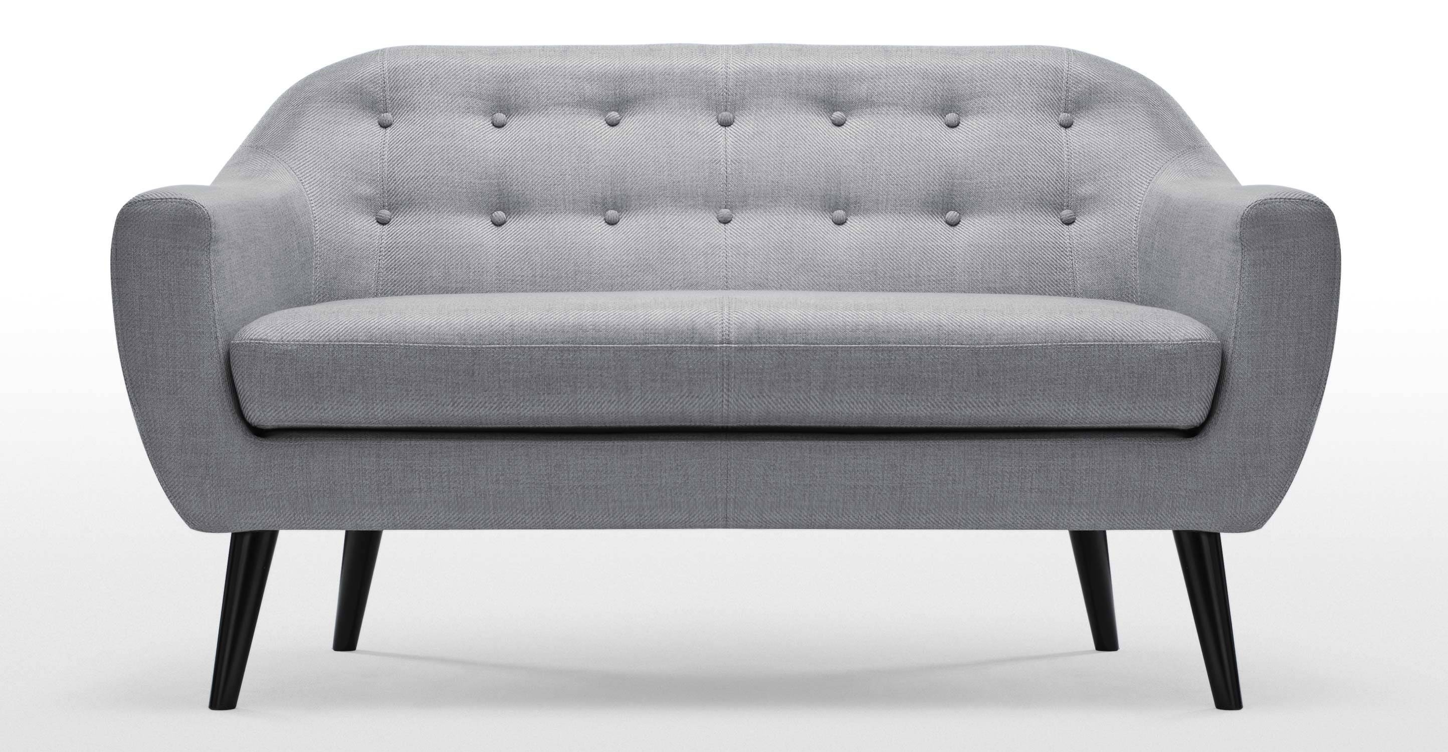 Ritchie 2 Seater Sofa In Pearl Grey | Made with Two Seater Chairs (Image 20 of 30)