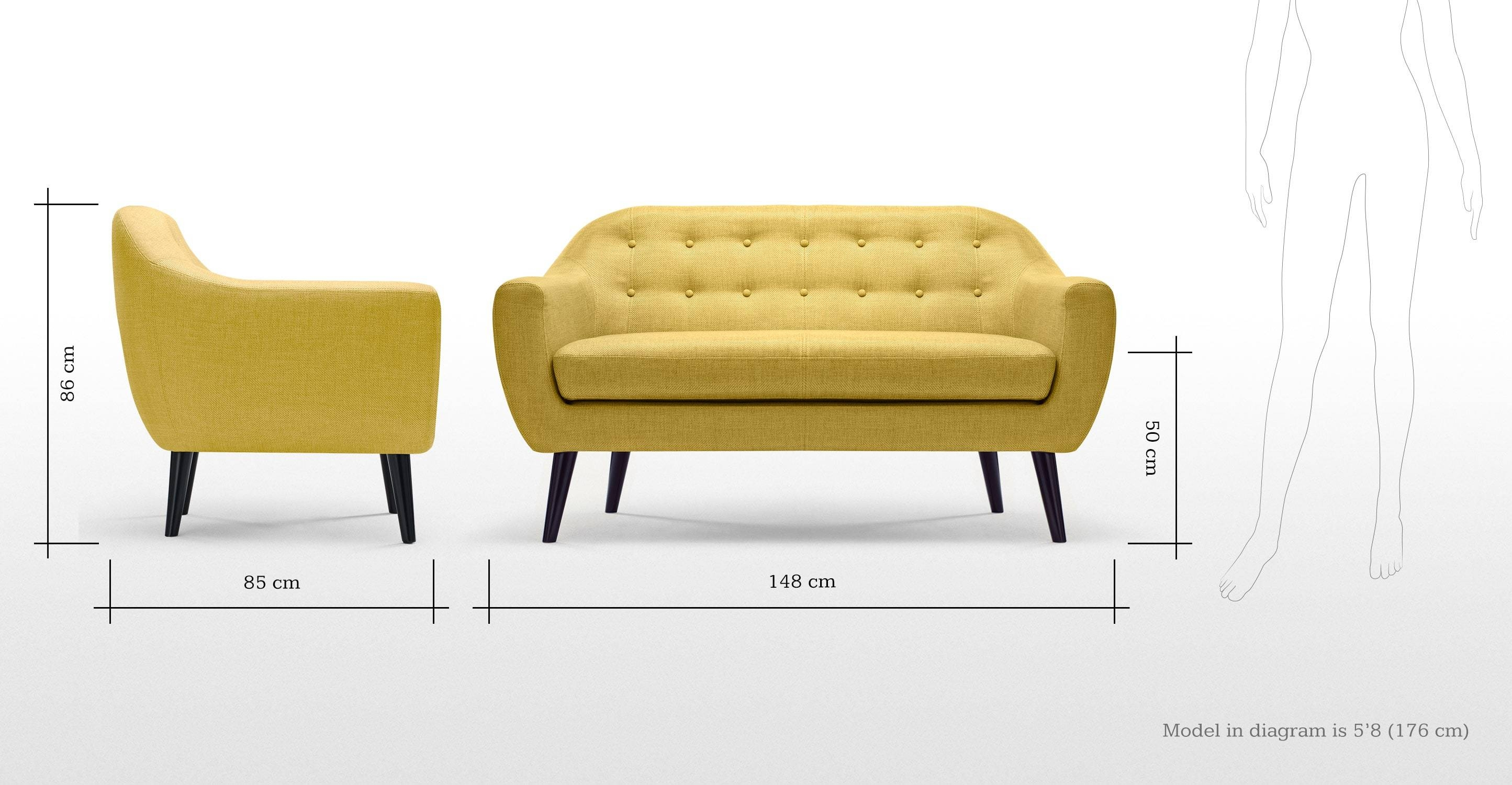 Ritchie 2 Seater Sofa, Ochre Yellow | Made Regarding Small 2 Seater Sofas (View 9 of 30)