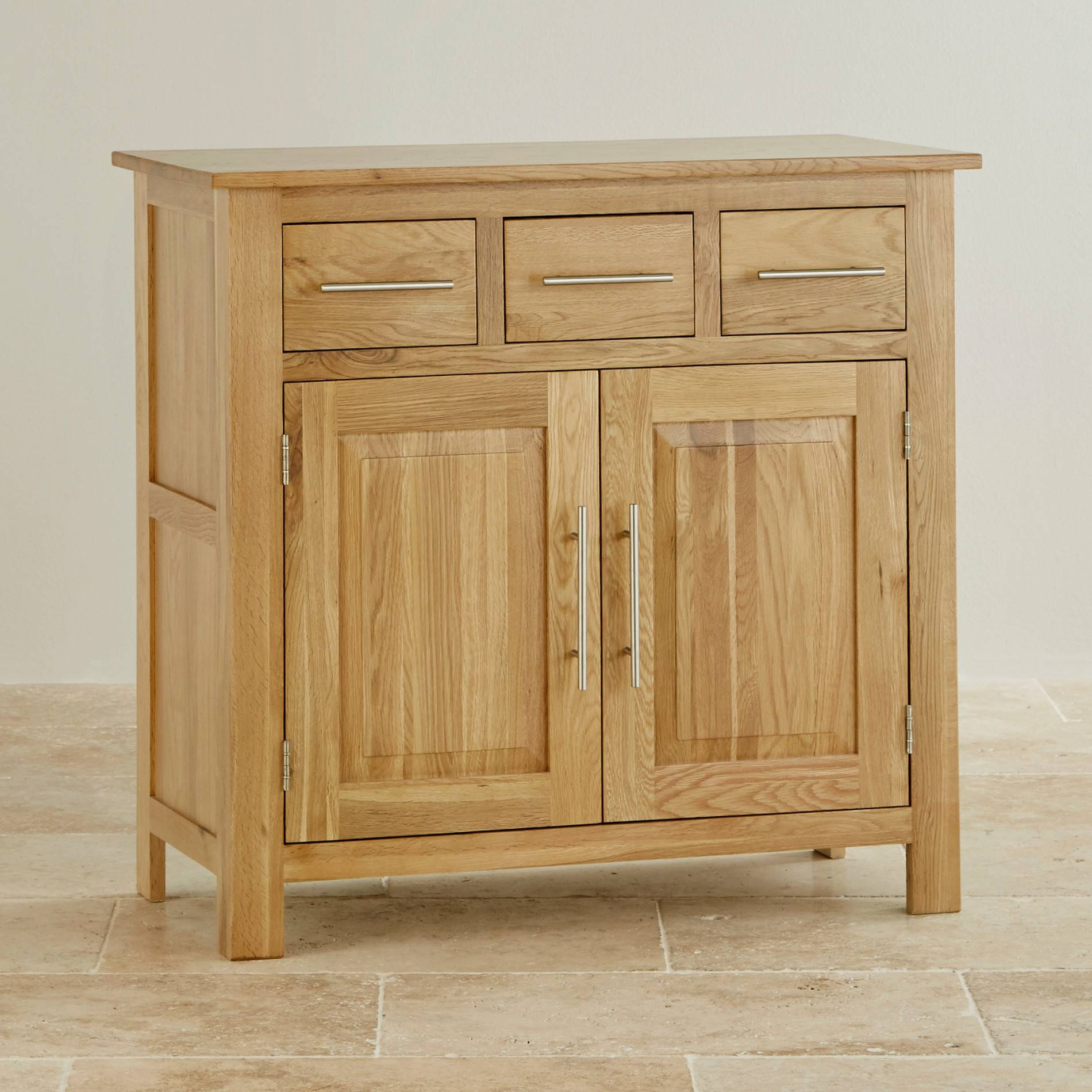 Rivermead Natural Solid Oak Small Sideboard | Oak Furniture Land Throughout Small Sideboards With Drawers (View 14 of 30)