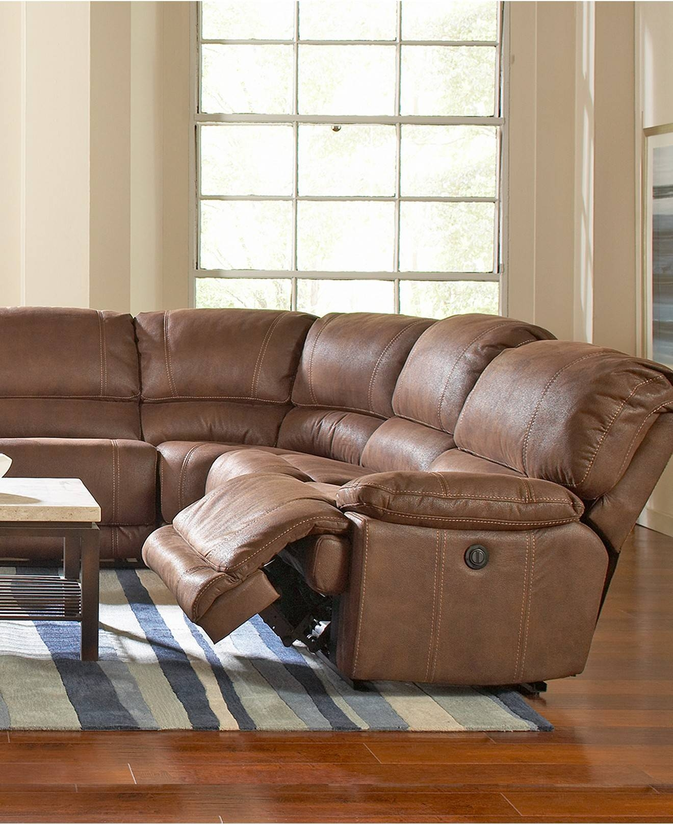 Riveting Macys Small Sectional Sofa Tags : Sectional Sofas Macys within Jedd Fabric Reclining Sectional Sofa (Image 27 of 30)