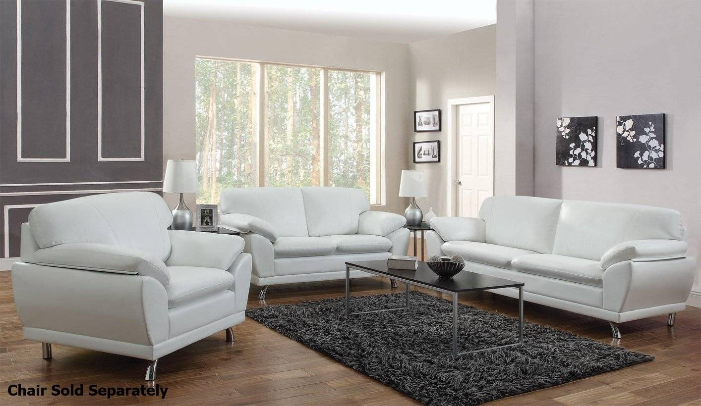 Robyn White Leather Sofa And Loveseat Set - Steal-A-Sofa Furniture regarding White Leather Sofas (Image 19 of 30)