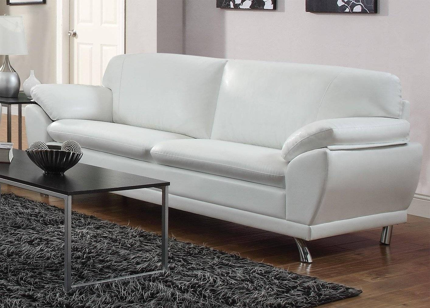Robyn White Leather Sofa - Steal-A-Sofa Furniture Outlet Los regarding White Leather Sofas (Image 17 of 30)
