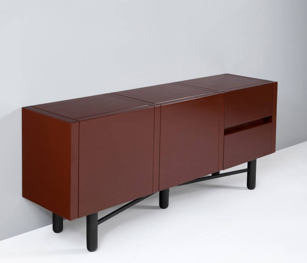 Roche Bobois Red Lacquered High Gloss Sideboard For Sale At 1Stdibs intended for Black High Gloss Sideboards (Image 24 of 30)