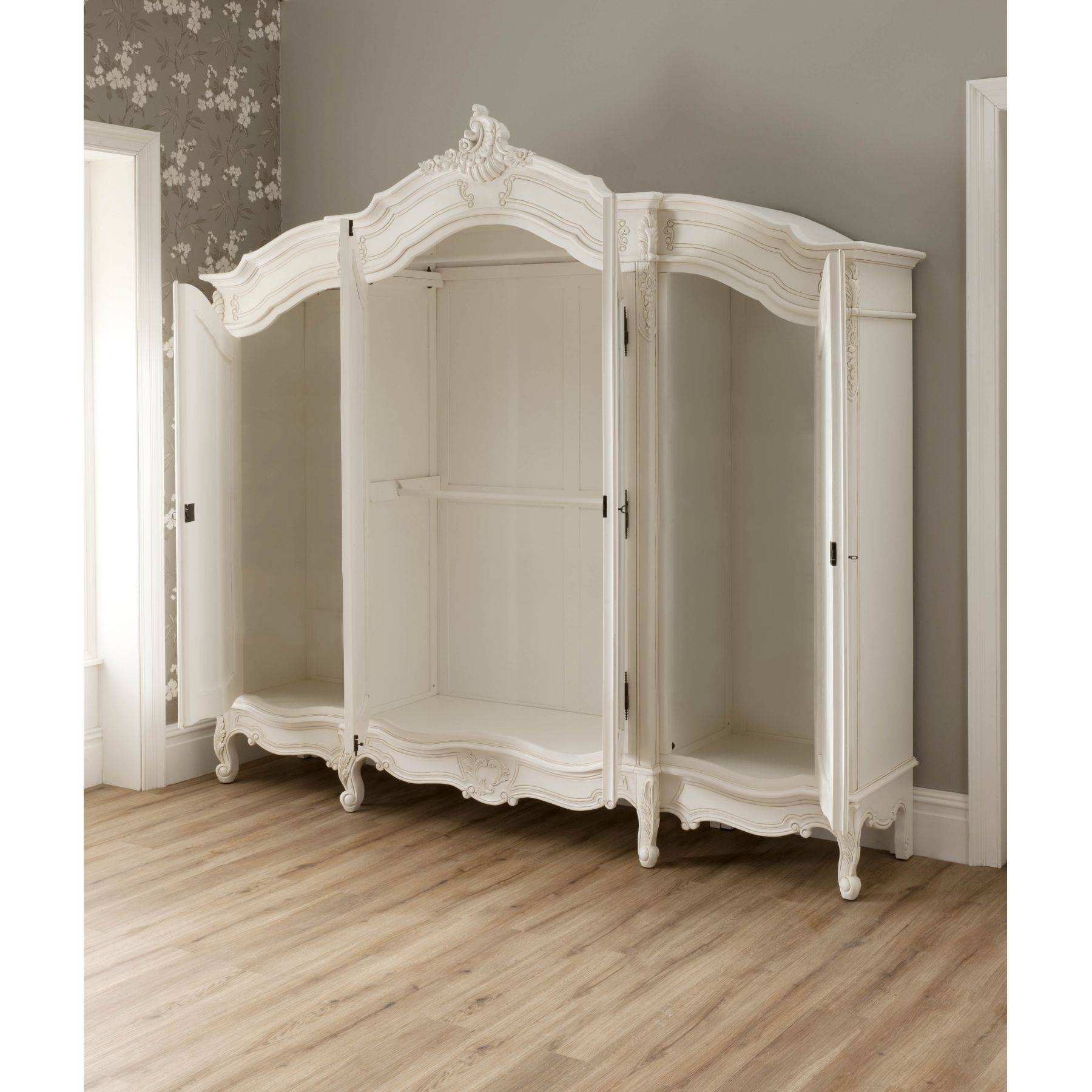 Rochelle 4 Door Antique French Wardrobe for White French Armoire Wardrobes (Image 14 of 15)