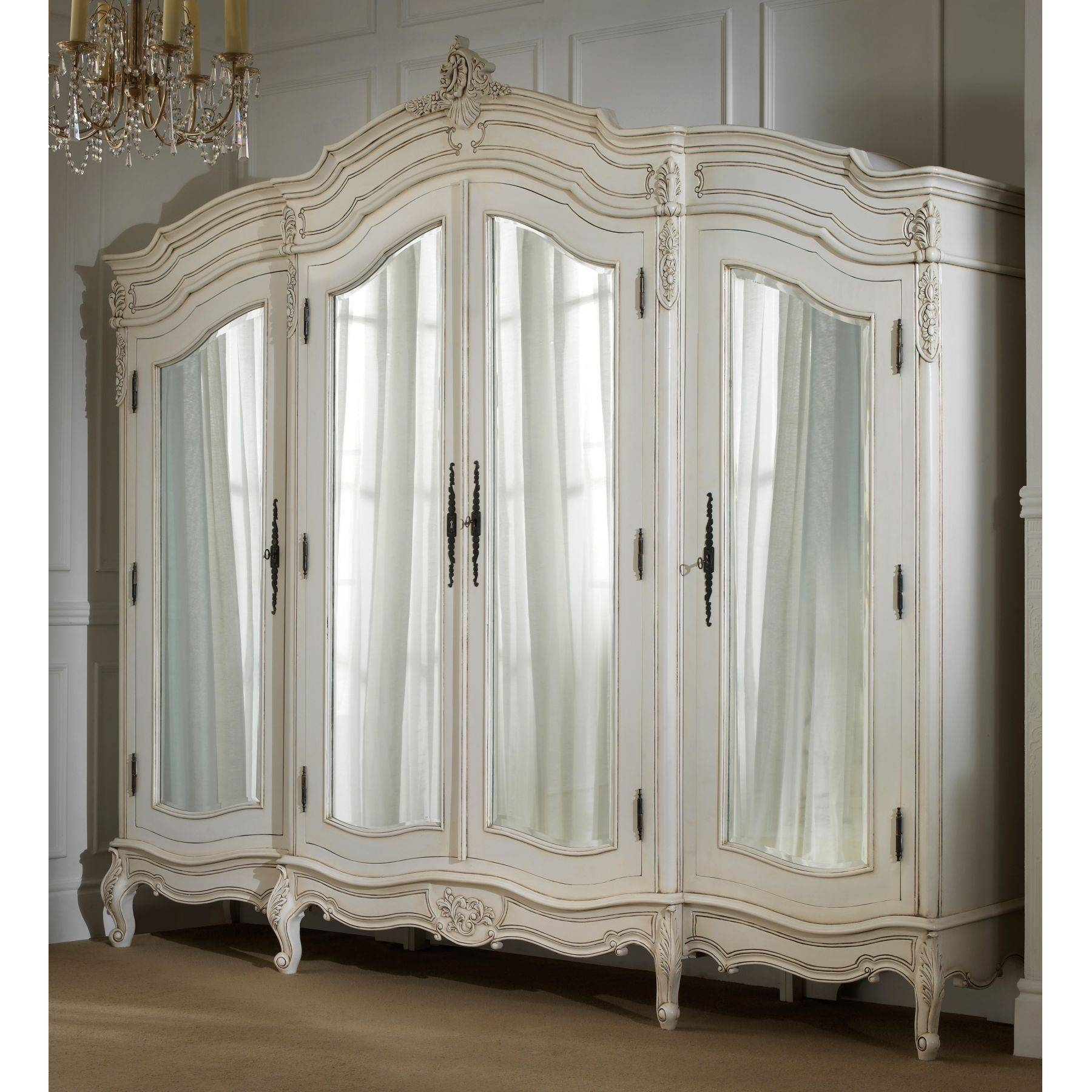Rochelle 4 Door Antique French Wardrobe throughout Rococo Wardrobes (Image 10 of 15)