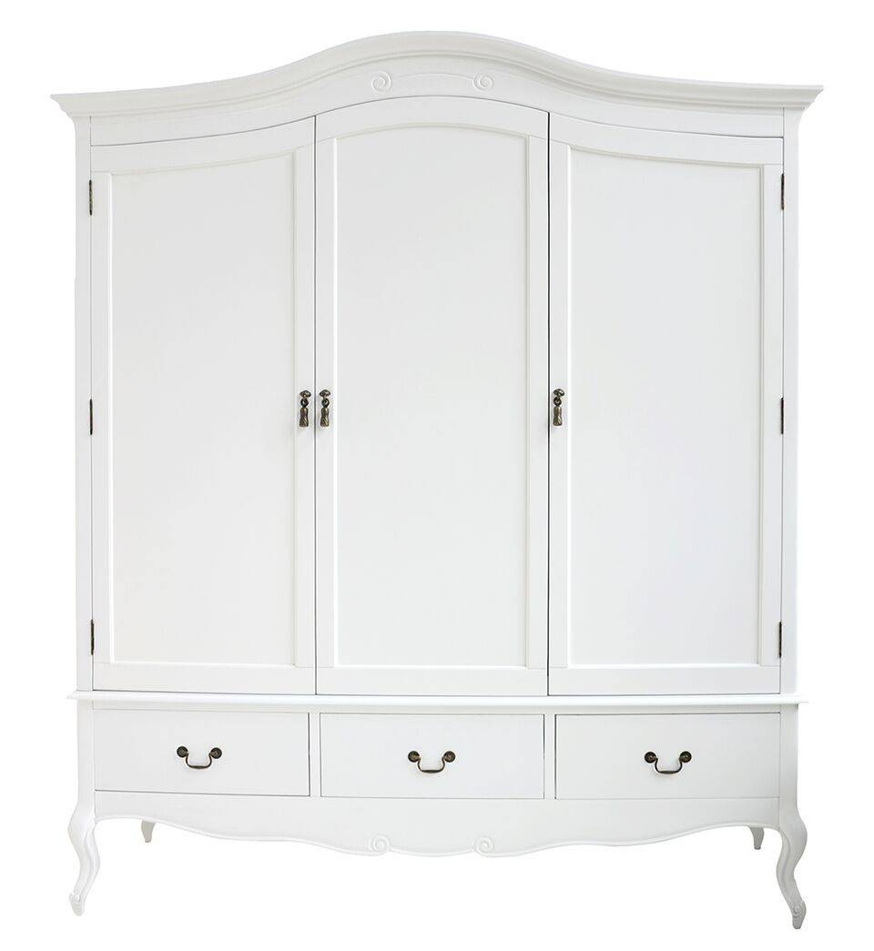 Rochelle Shabby Chic White Painted Triple Wardrobe with White Shabby Chic Wardrobes (Image 7 of 15)