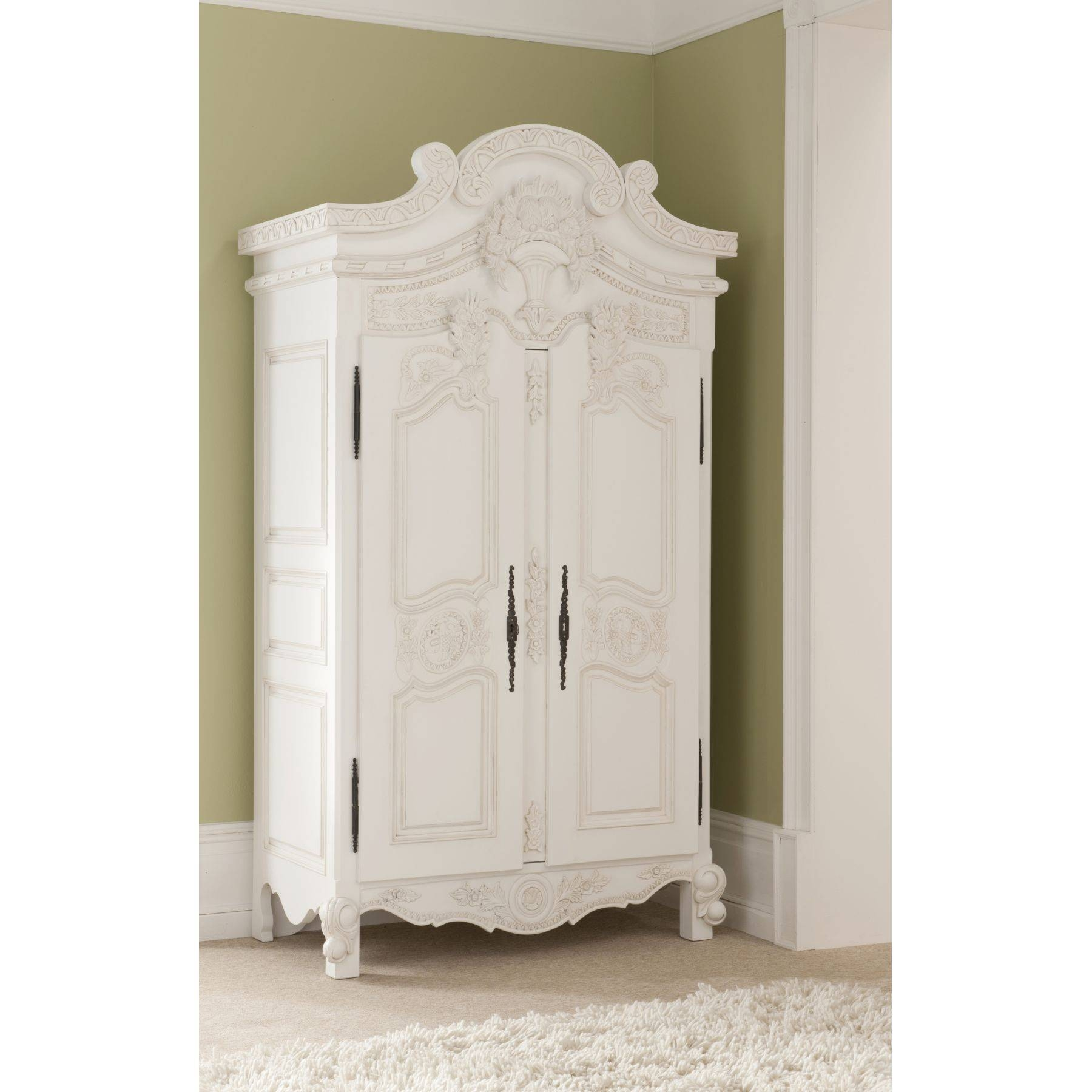 Rococo Antique French Bed (Size: Single) + Roccoco Antique French inside Small Tallboy Wardrobes (Image 11 of 15)