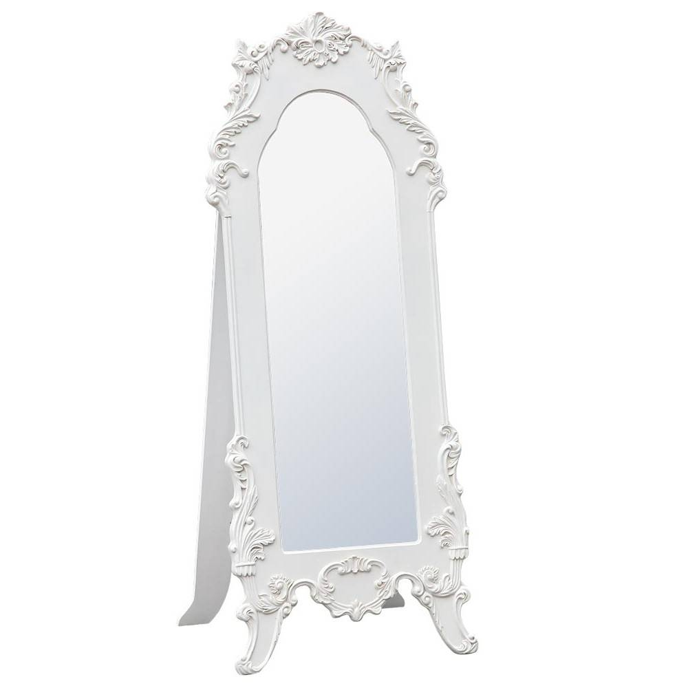 Rococo Provence Antique White Tall Full Length Freestanding For Antique Free Standing Mirrors (View 12 of 25)
