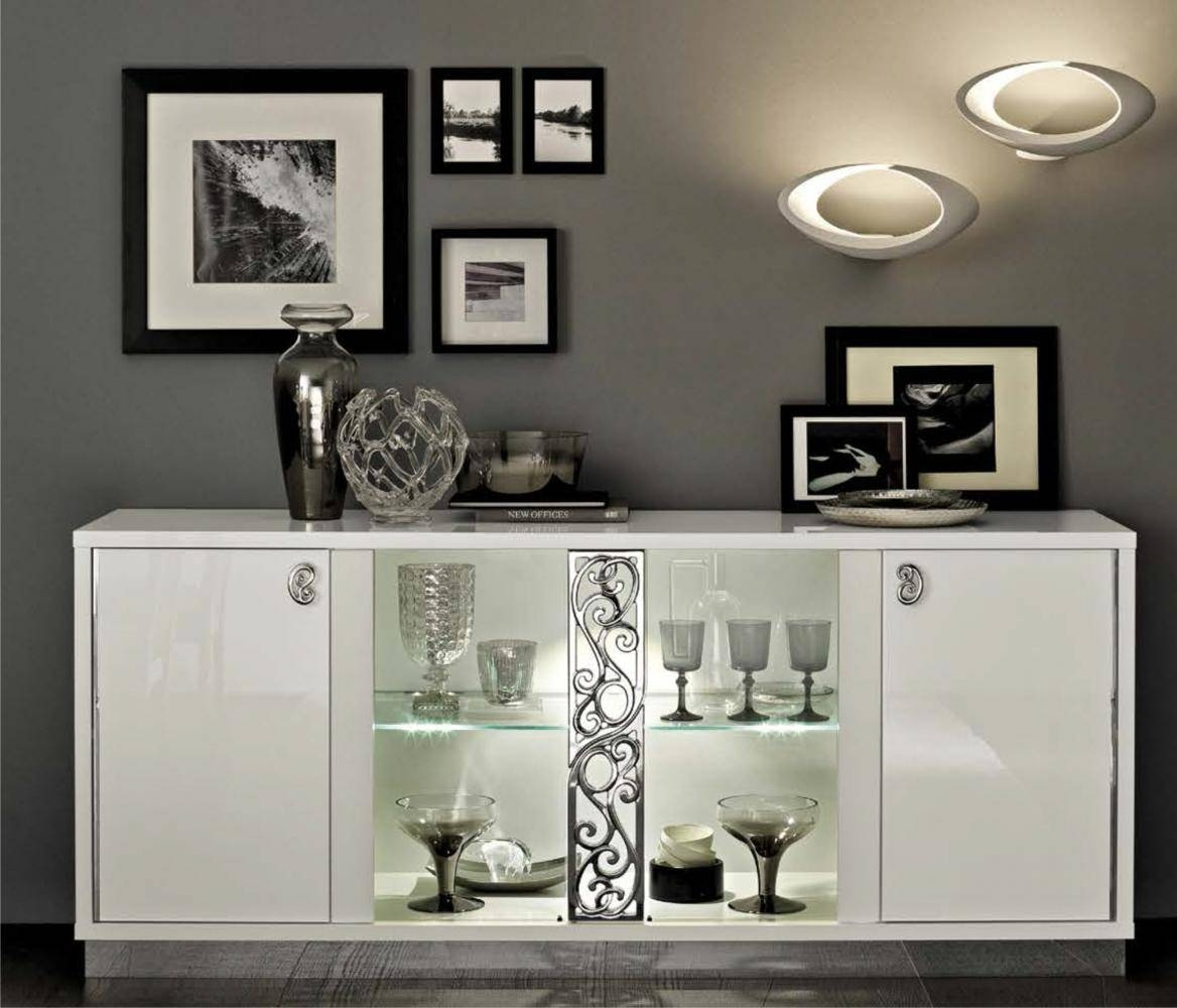 Roma 4-Door Sideboard, White Buy Online At Best Price - Sohomod intended for Sideboards With Glass Doors (Image 14 of 30)