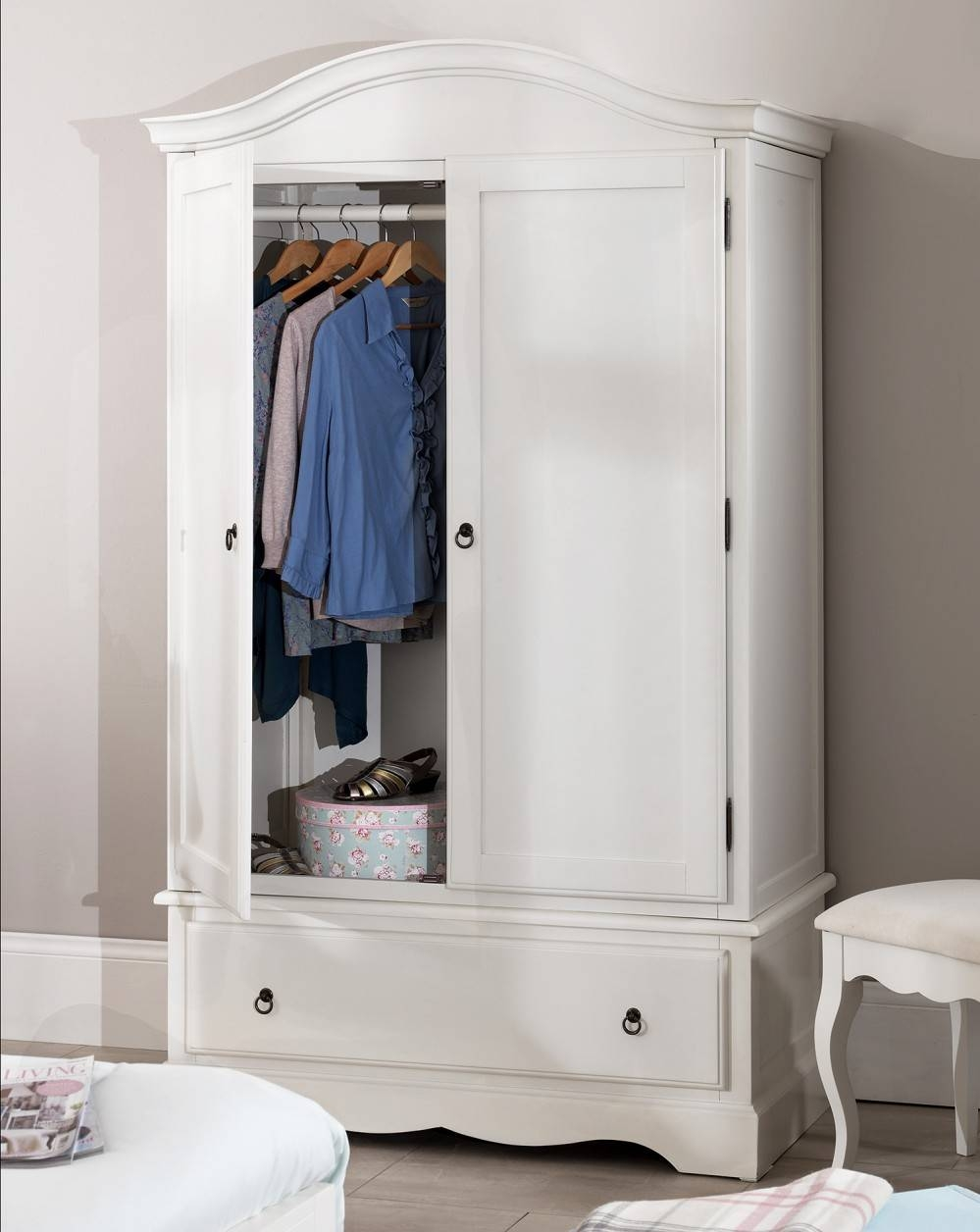 Romance White Bedroom Furniture, Bedside Table, Chest Of Drawers in Tall Double Rail Wardrobes (Image 17 of 30)