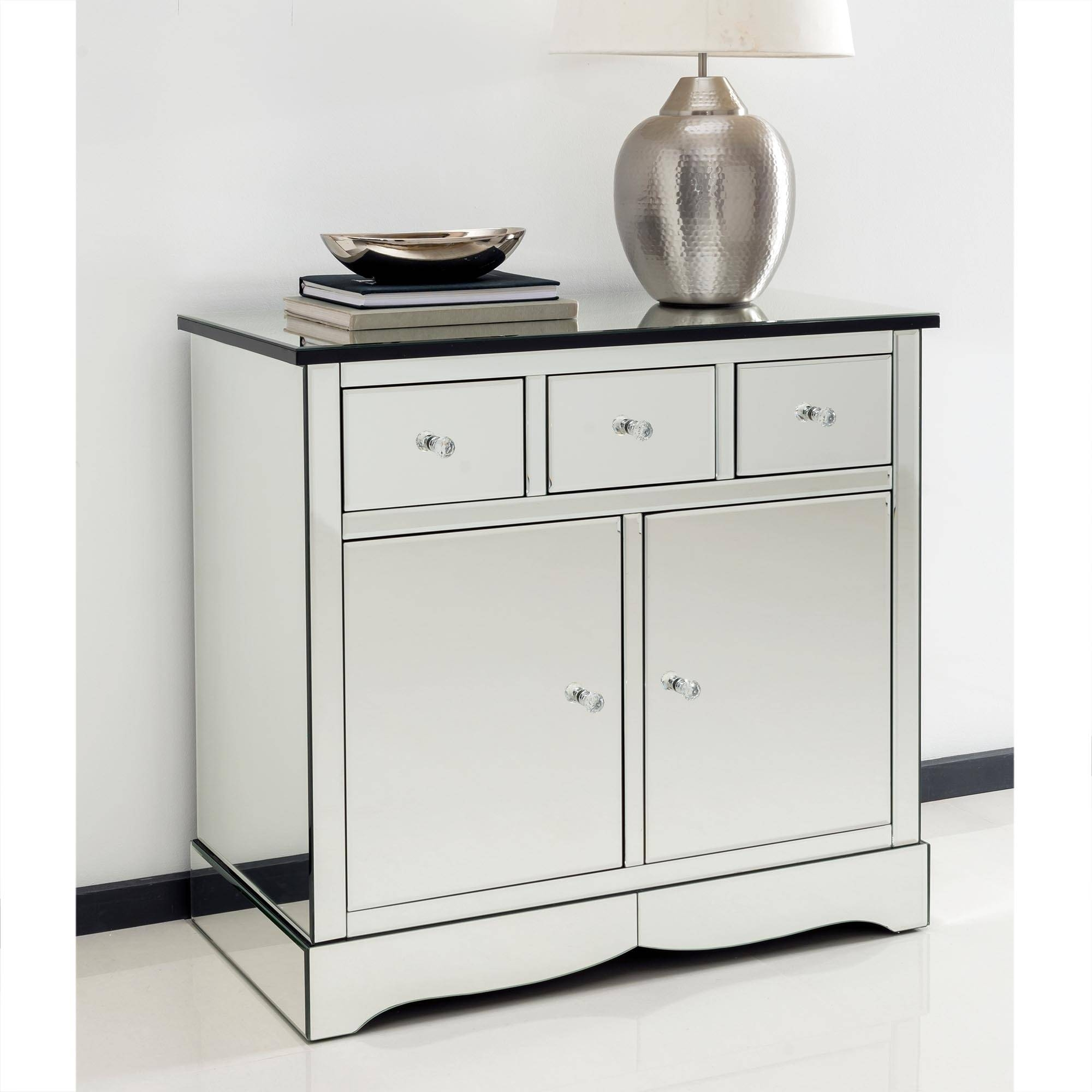 Romano Crystal Mirrored Cabinet With Cupboards & Drawers - French throughout Mirrored Sideboards (Image 20 of 30)