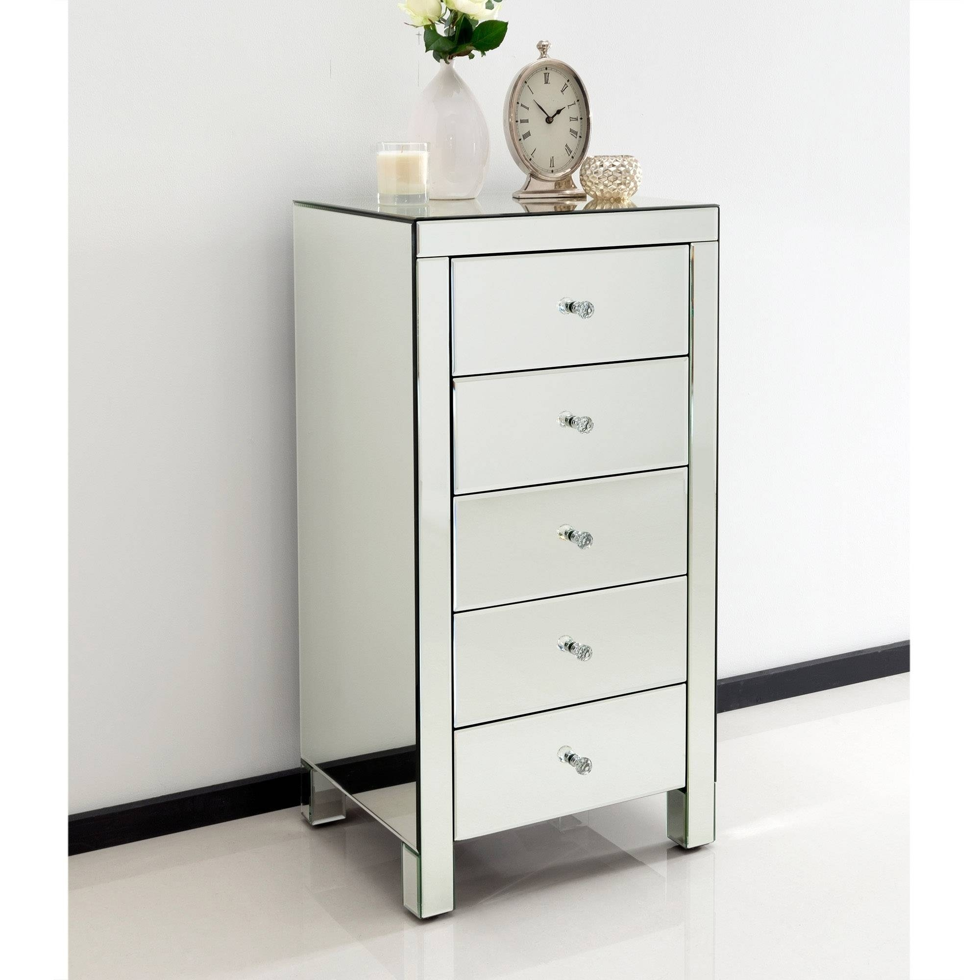 Romano Crystal Mirrored Tallboy Chest | Venetian Mirrored Furniture pertaining to Venetian Mirrored Chest Of Drawers (Image 16 of 25)