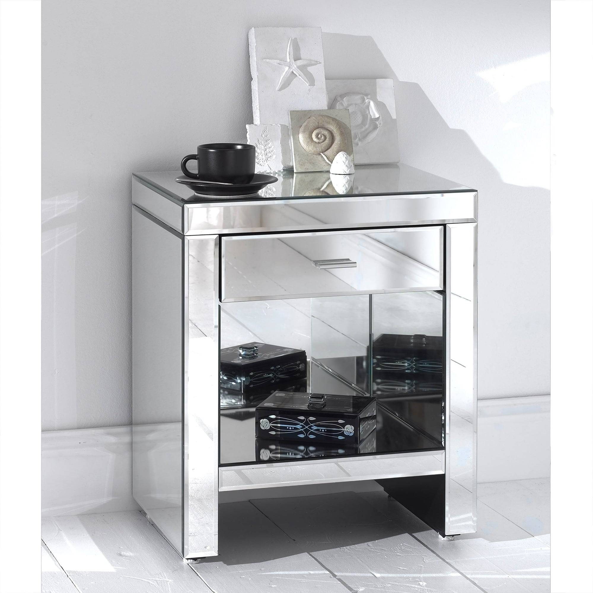 Romano Mirrored Bedside & Shelf - French Furniture From throughout Romano Mirrored Wardrobes (Image 7 of 15)
