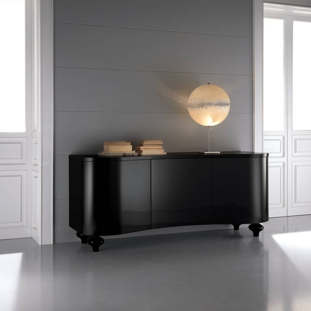 Romantic Dining Room With Black Buffet Sideboard inside Black Gloss Buffet Sideboards (Image 18 of 30)