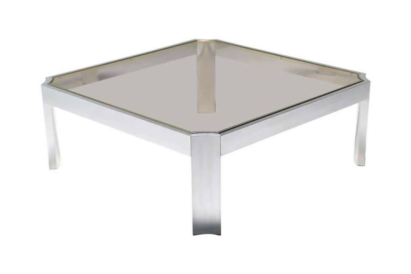 Ron Seff Style Glass Coffee Table With Aluminium Base | Mid with Aluminium Coffee Tables (Image 27 of 30)