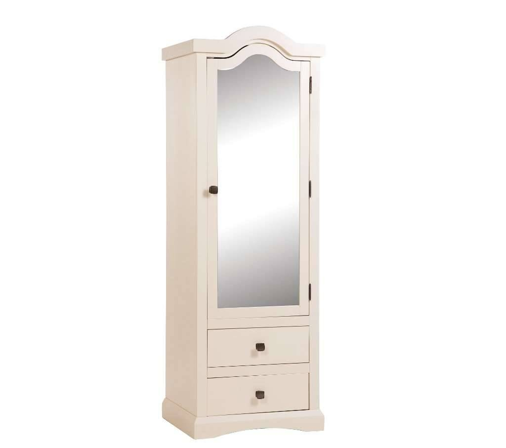Room4 Quebec Cream 1 Door Single Mirror Wardrobe regarding Mirrored Wardrobes With Drawers (Image 11 of 15)