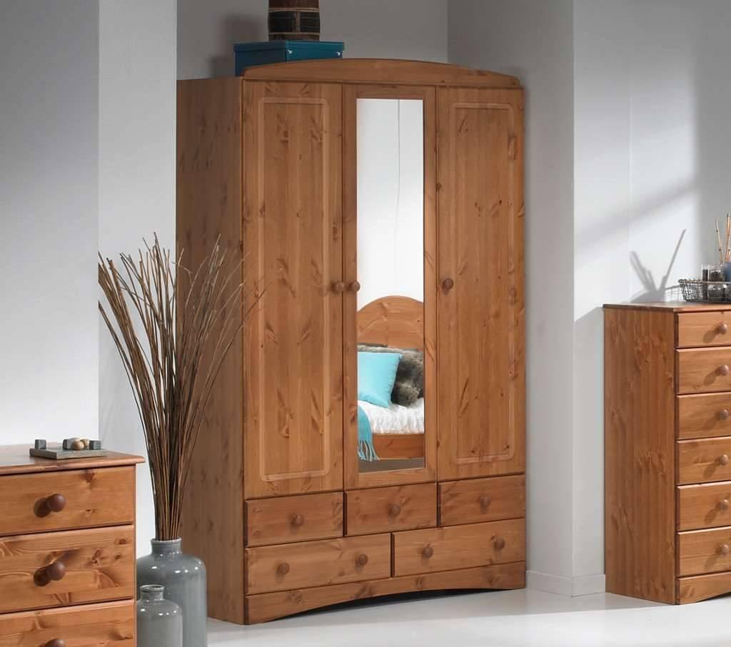 Room4 Scandi Pine 3 Door 5 Drawer Wardrobe With for Wardrobes 3 Door With Mirror (Image 11 of 15)