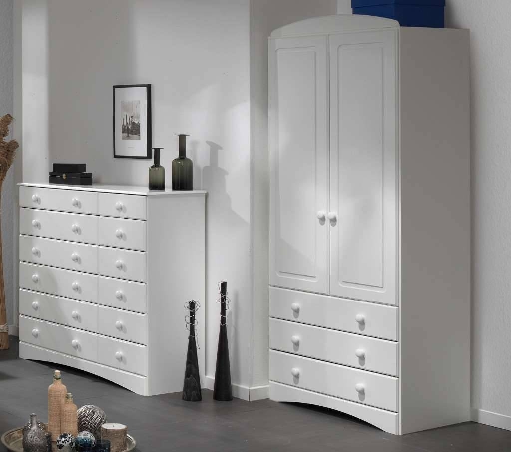 Room4 Scandi White 2 Door 3 Drawer Wardrobe With Regard To 3 Door White Wardrobes With Drawers (View 10 of 15)