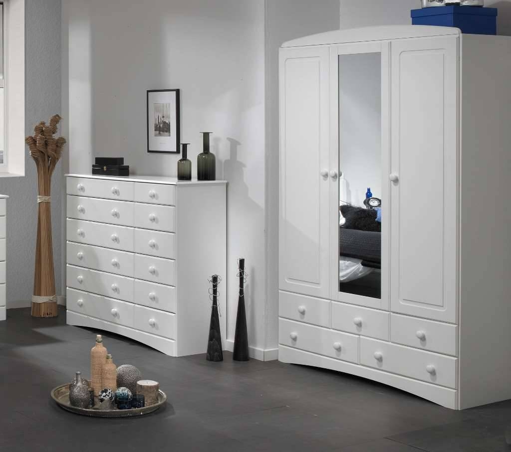Room4 Scandi White 3 Door 5 Drawer Wardrobe With within White 3 Door Wardrobes With Mirror (Image 11 of 15)