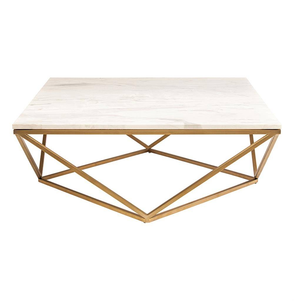 Rosalie Hollywood Regency Gold Steel White Marble Coffee Table pertaining to White Marble Coffee Tables (Image 26 of 30)