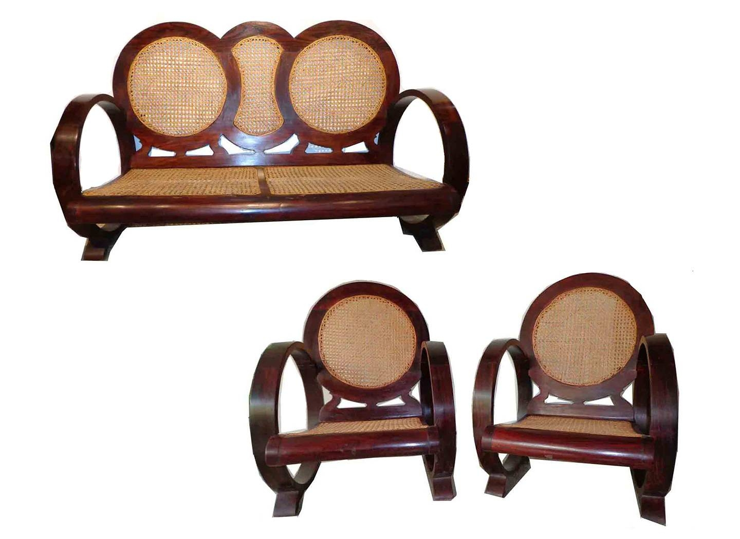 Rosewood Caning Art Deco Sofa Set - Seating, Living Room - Souk within Art Deco Sofa And Chairs (Image 12 of 15)