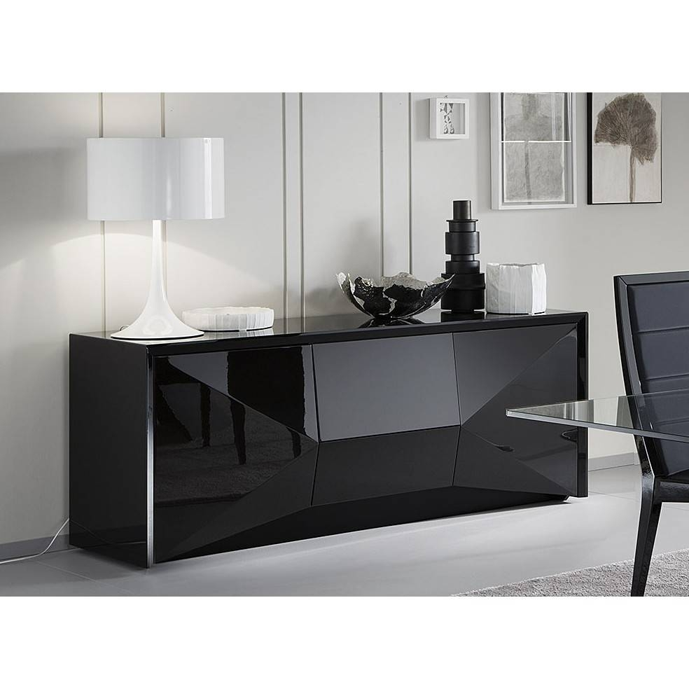 """Rossetto 98""""l Large Sapphire Buffet Sideboard In Black Finish For within Black Gloss Buffet Sideboards (Image 20 of 30)"""