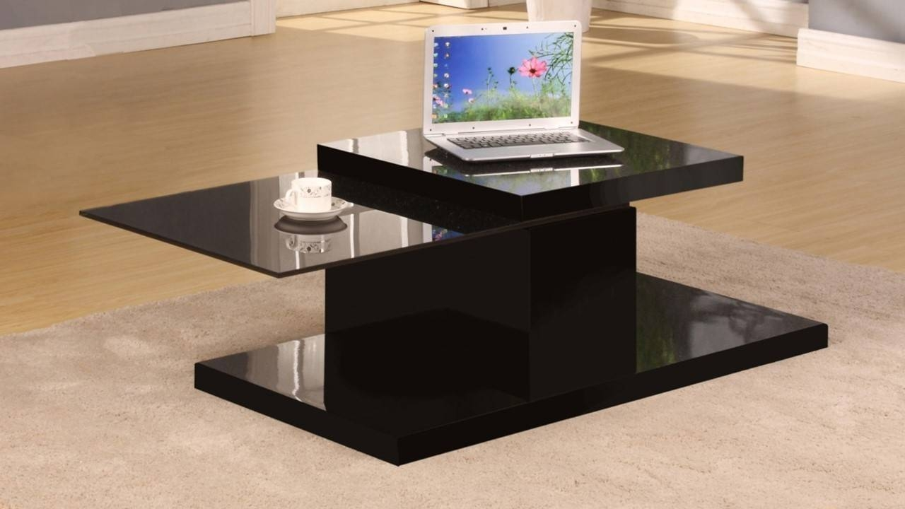 Rotating Black High Gloss Glass Coffee Table - Homegenies with Dark Glass Coffee Tables (Image 27 of 30)