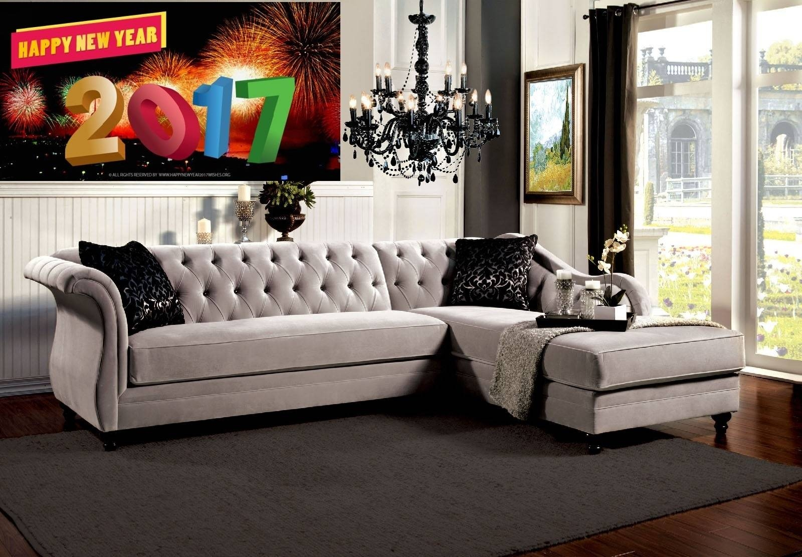 "Rotterdam French Style Warm Grey ""l"" Shape Sectional + Chaise inside French Style Sofa (Image 17 of 25)"