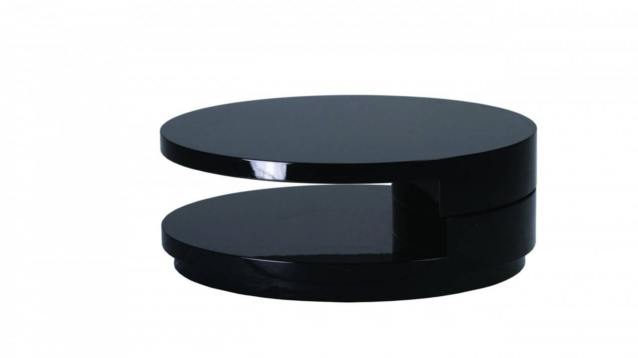 Round Black High Gloss Coffee Table - Homegenies intended for Gloss Coffee Tables (Image 25 of 30)