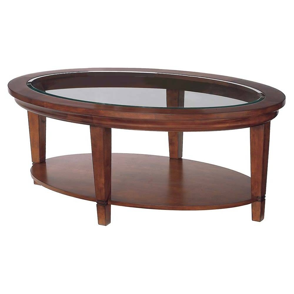 Round Cherry Glass Coffee Table | Coffee Tables Decoration inside Round Glass And Wood Coffee Tables (Image 14 of 30)