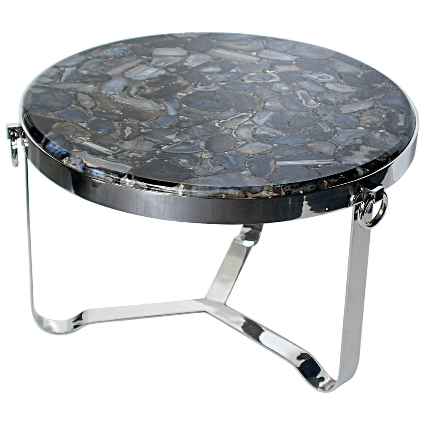 Round Chrome Coffee Table With Agate Top, In The Manner Of Maison within Round Chrome Coffee Tables (Image 22 of 30)