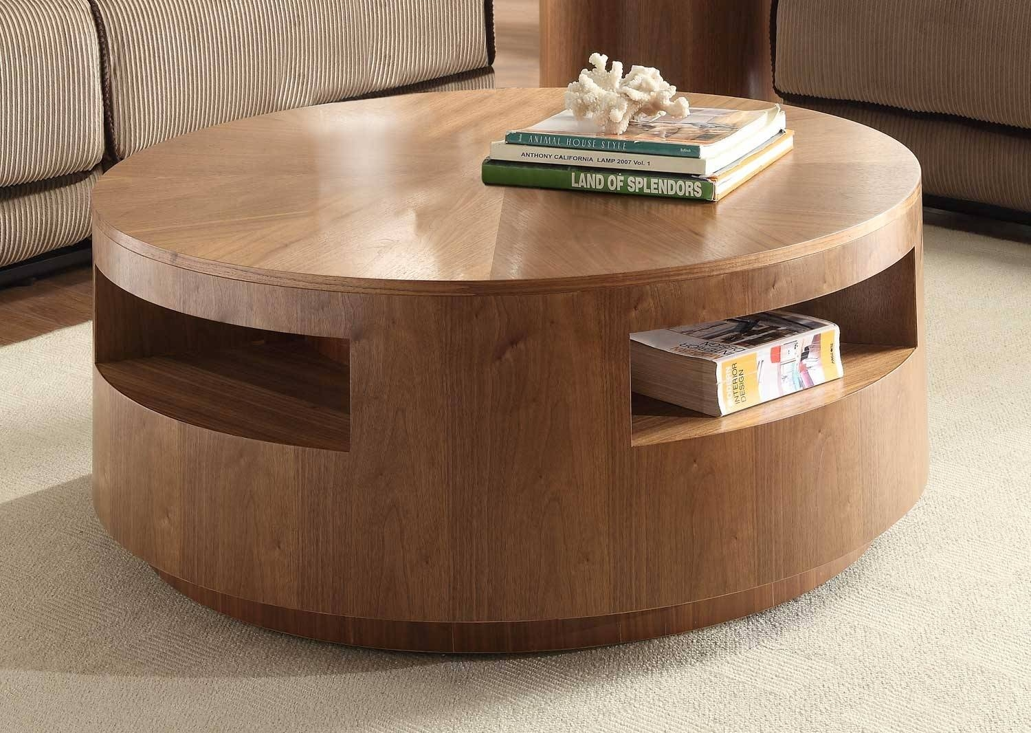Round Coffee Table With Drawers And Open Shelves Tables Wooden inside Round Storage Coffee Tables (Image 23 of 30)