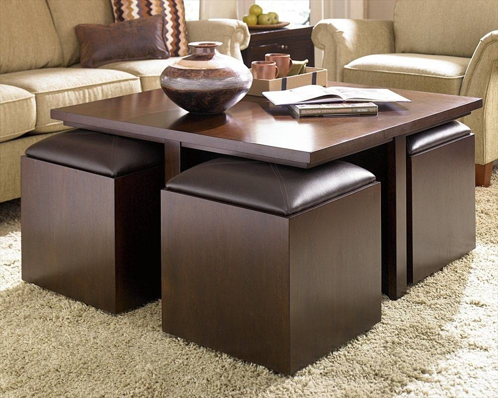 Round Coffee Table With Pull Out Ottomans | Coffee Tables Decoration pertaining to Round Coffee Tables With Storage (Image 23 of 30)