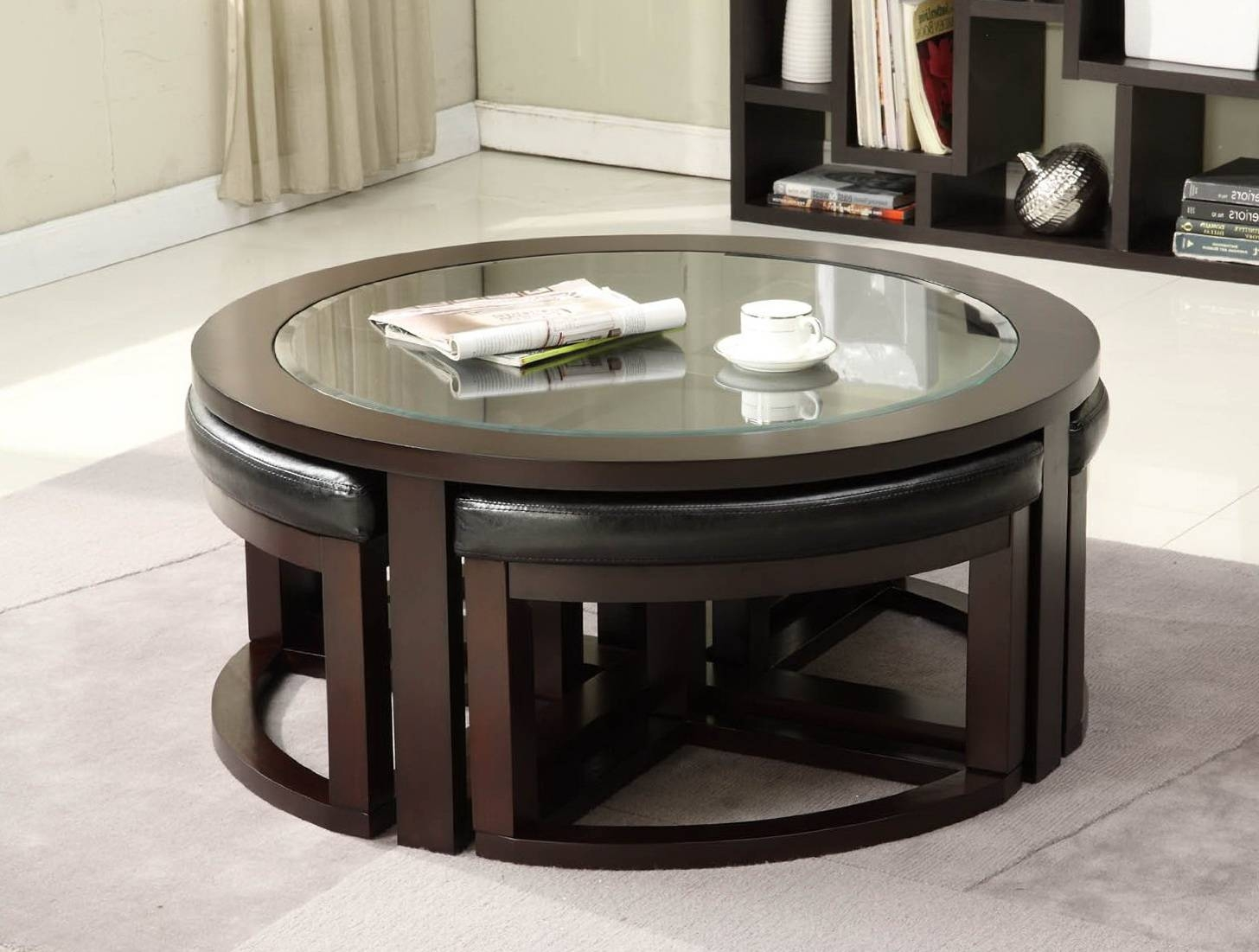 Round Coffee Table With Pull Out Seats | Coffee Tables Decoration throughout Round Coffee Tables With Storage (Image 24 of 30)