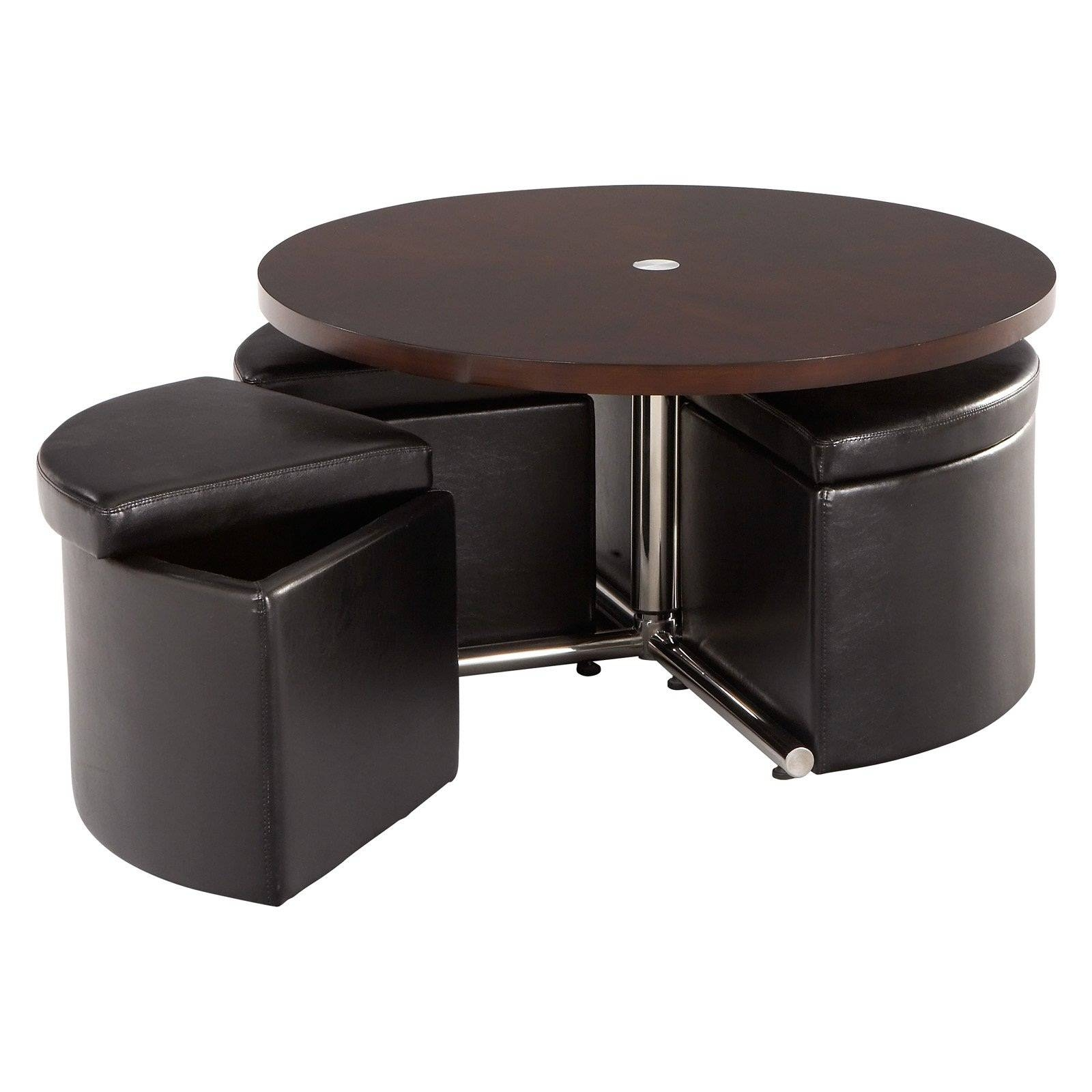 Round Coffee Table With Storage Stools Metal And Round Wood Coffee pertaining to Round Storage Coffee Tables (Image 25 of 30)