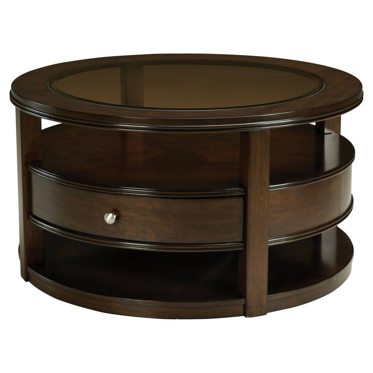 Round Dark Wood Coffee Table Starrkingschool - Jericho Mafjar Project inside Round Coffee Tables With Drawer (Image 27 of 30)