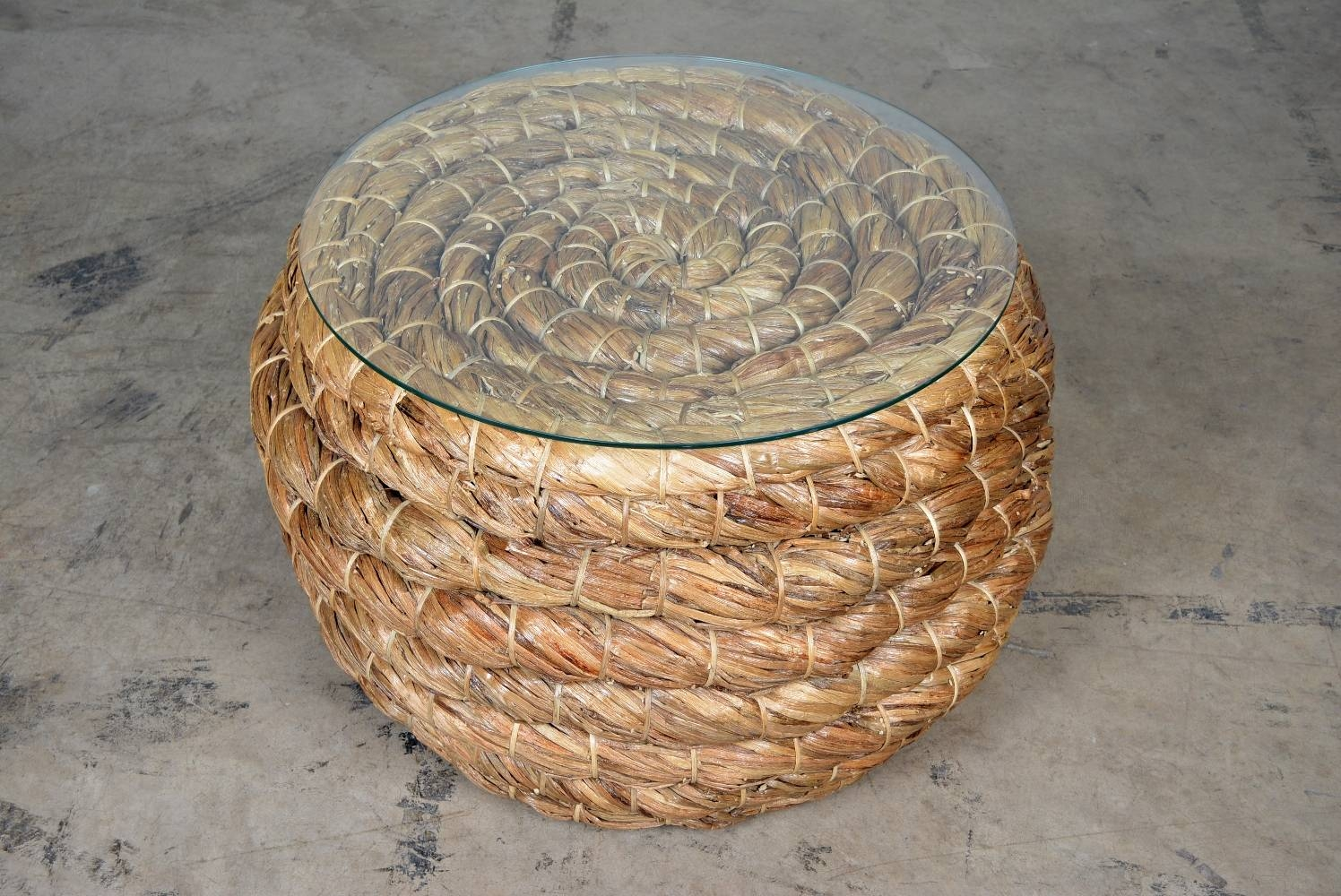 Round Dark Woven Thick Rope Coffee Table - Mecox Gardens inside Round Woven Coffee Tables (Image 22 of 30)